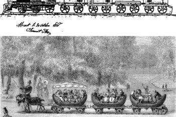 11123e36627 Arriba: patente francesa nº 73821 (ferrocarril desmontable). Abajo: Tren de  raíles
